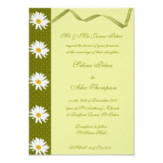Green Ribbon with White Daisy Wedding Invitation
