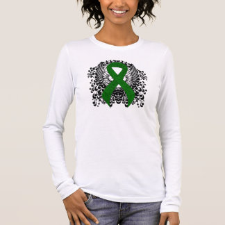 Green Ribbon with Wings Long Sleeve T-Shirt