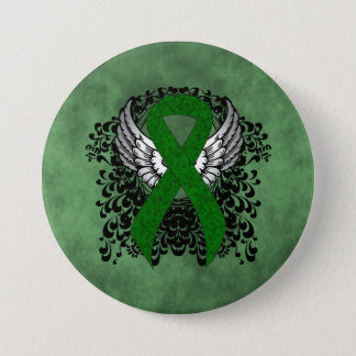 Green Ribbon with Wings Pinback Button