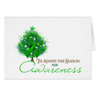 Green Ribbon Xmas Awareness Season Greeting Card