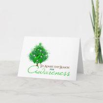 Green Ribbon Xmas Awareness Season Holiday Card