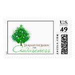 Green Ribbon Xmas Awareness Season Stamp