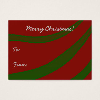 Green Ribbons on Red Christmas Gift Tag