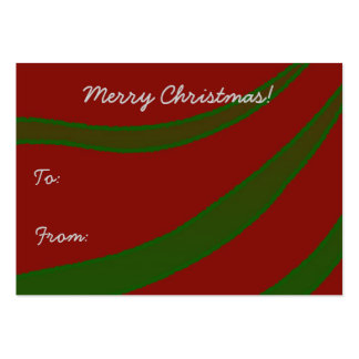 Green Ribbons on Red Christmas Gift Tag Large Business Cards (Pack Of 100)