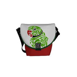 Green ringneck parrot tattoo messenger bag