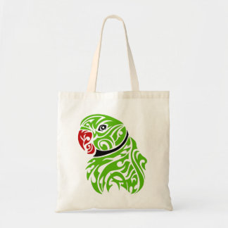 Green ringneck parrot tattoo tote bag