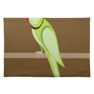 Green ringneck parrot vector cloth placemat