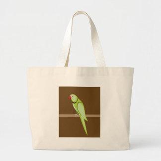 Green ringneck parrot vector large tote bag