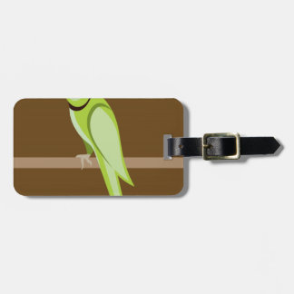 Green ringneck parrot vector luggage tag