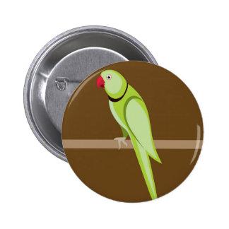 Green ringneck parrot vector pinback button