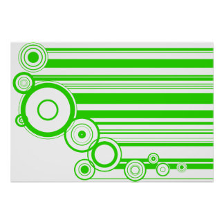 Green Rings & Stripes Poster