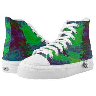 Green Rippled Wave Hi Top Printed Shoes