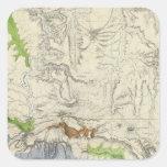 Green River del mapa de ferrocarril pacífico de la Calcomanias Cuadradas