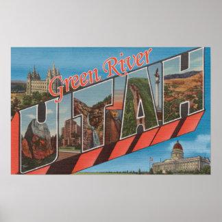 Green River, Utah - Large Letter Scenes Poster