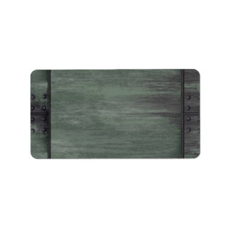 Green riveted steel texture label