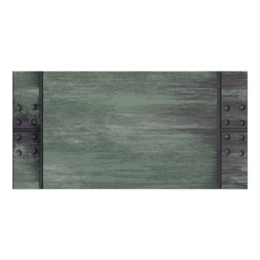 Green riveted steel texture picture card