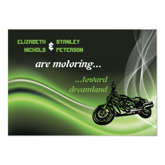 Green road biker/motorcycle wedding card