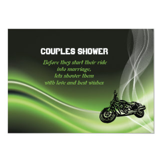 Green road biker/motorcycle wedding couples shower 5x7 paper invitation card