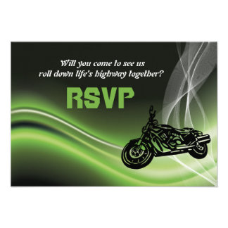 Green road biker/motorcycle wedding RSVP response Personalized Announcements