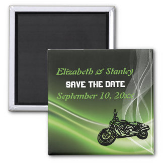 Green road biker/motorcycle wedding Save the Date 2 Inch Square Magnet