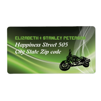 Green road biker/motorcycle wedding shipping label
