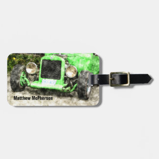 Green Roadster Hot Rod Classic Car for Men Luggage Tag