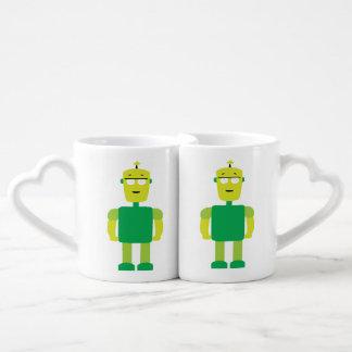 Green robot cartoon coffee mug set