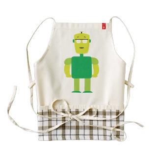 Green robot cartoon zazzle HEART apron