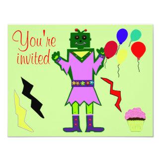 Green Robot Girl and Balloons Cupcakes Birthday Card