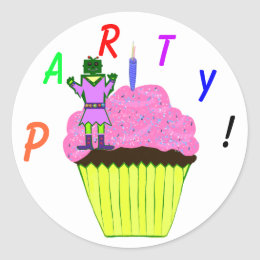 Green Robot Girl and Pink Cupcake Birthday Party Classic Round Sticker