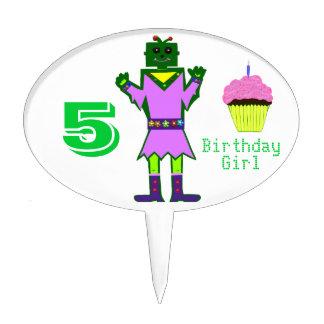 Green Robot Girl Pink Cupcake 5th Birthday Cake Topper
