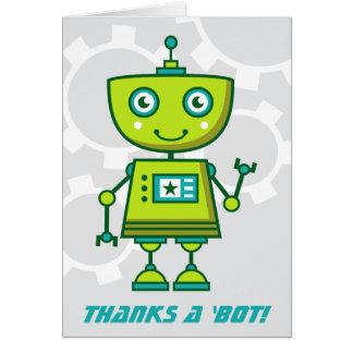 Green Robot Thank You Cards | Thanks a 'bot!