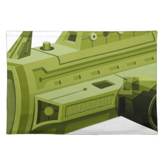 Green rocketship on white placemat
