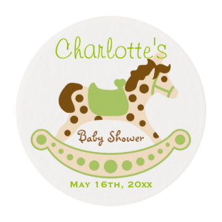 Green Rocking Horse Baby Shower Edible Frosting Rounds