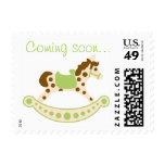 Green Rocking Horse Baby Shower Stamps