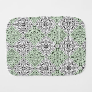 Green Rococo Pattern Flourish Baby Burp Cloth