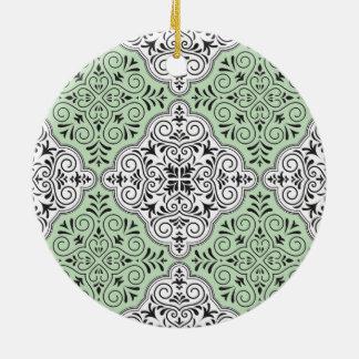 Green Rococo Pattern Flourish Ceramic Ornament