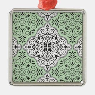 Green Rococo Pattern Flourish Metal Ornament