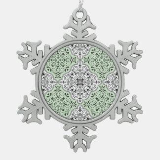Green Rococo Pattern Flourish Snowflake Pewter Christmas Ornament