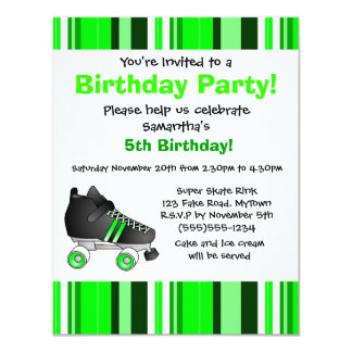 Green Roller Skate Birthday Party - Green Stripe 4.25x5.5 Paper Invitation Card
