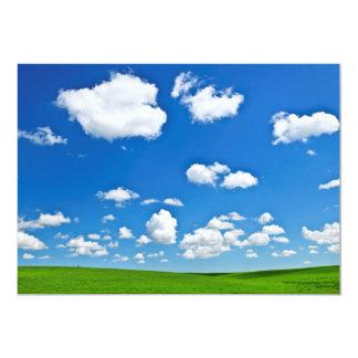 "Green rolling hills under blue sky 5"" x 7"" invitation card"