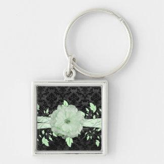 Green Romance Flower Luxury Damask Keychain Key Chain