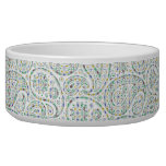 Green Rombic Pastel Paisley Dog Bowl