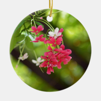 Green Roof- Beautiful flowers Double-Sided Ceramic Round Christmas Ornament