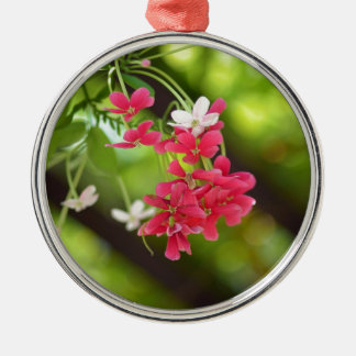 Green Roof- Beautiful flowers Round Metal Christmas Ornament