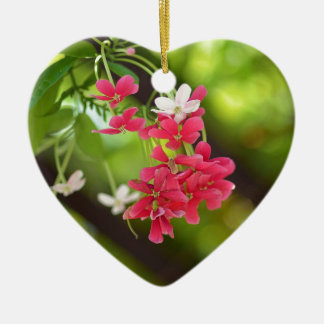 Green Roof- Beautiful flowers Double-Sided Heart Ceramic Christmas Ornament