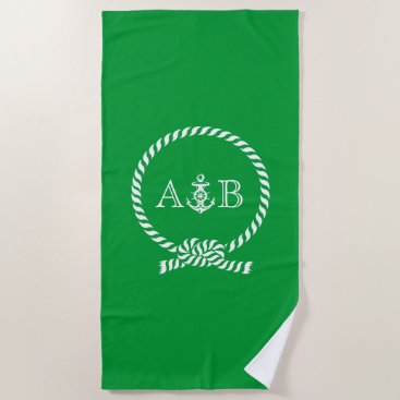 Beach Themed Green Rope and Anchor Monogrammed Beach Towel