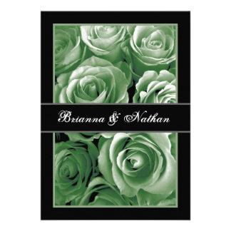 GREEN Rose Bouquet Wedding Invitation