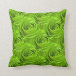 Green Rose Center Wallpaper Pattern Throw Pillows