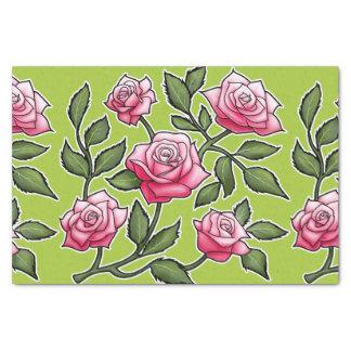 Green Rose Floral Tissue Paper